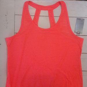 Women's Activewear Hot Coral Mesh Tank XL